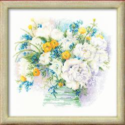Cross Stitch Kit Watercolour Peonies - RIOLIS