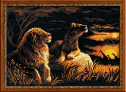 Cross Stitch Kit Lions in the Savannah - RIOLIS