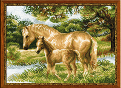 Cross Stitch Kit Horse with Foal - RIOLIS