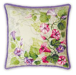 Cross Stitch Kit Pastel Bindweed Cushion - RIOLIS