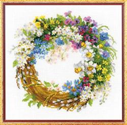 Cross Stitch Kit Wreath with Bird Cherry - RIOLIS