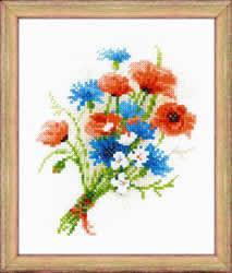 Borduurpakket Bouquet with Cornflowers - RIOLIS