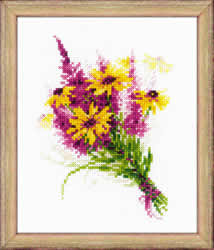 Cross Stitch Kit Bouquet with Coneflowers - RIOLIS