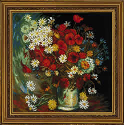 Cross Stitch Kit Still Life with Meadow Flowers and Roses after Van Gogh's Painting - RIOLIS