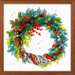 Cross Stitch Kit Wreath with Blue Spruce - RIOLIS
