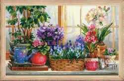 Borduurpakket Windowsill with Flowers - RIOLIS