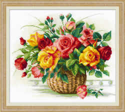 Cross stitch kit Basket with Roses - Borduurpakket
