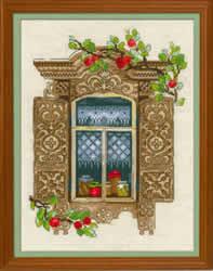 Borduurpakket Window With Apples - RIOLIS