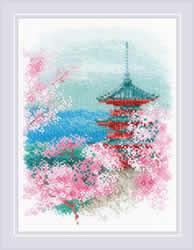 Borduurpakket Sakura - Pagoda - RIOLIS