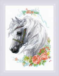 Borduurpakket White Mane and Roses  - RIOLIS