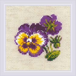 Cross stitch kit Pair of Pansies - RIOLIS