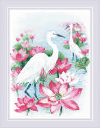 Cross stitch kit Lotus Field - Herons - RIOLIS