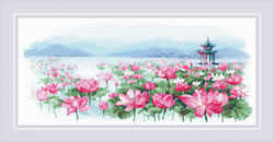 Cross stitch kit Lotus Field - Pagoda on the Water - RIOLIS