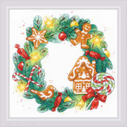 Borduurpakket Gingerbread Wreath - RIOLIS