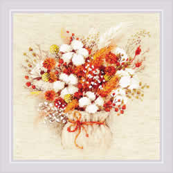 Borduurpakket Bouquet with Lagurus and Cotton - RIOLIS