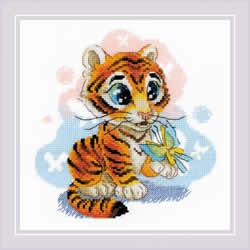 Cross stitch kit Curious Little Tiger - RIOLIS