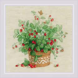 Cross stitch kit Strawberries in a Pot - RIOLIS