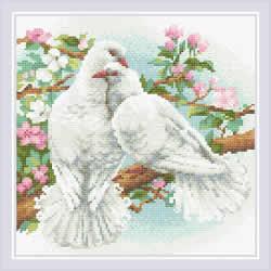 Diamond Mosaic White Doves - RIOLIS