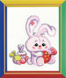 Borduurpakket Bunny wit a Candy - RIOLIS