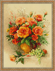 Cross Stitch Kit Tea Roses - RIOLIS