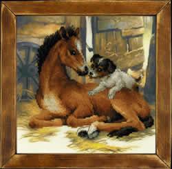 Borduurpakket Foal and Puppy - RIOLIS
