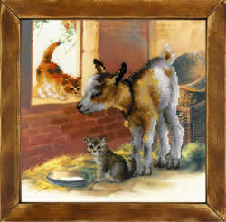 Cross Stitch Kit Goatling and Kittens - RIOLIS