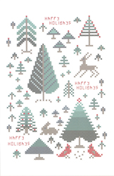 Cross Stitch Chart Happy Holiday Trees - Rosewood Manor