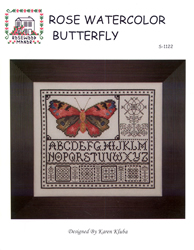 Cross Stitch Chart Rose Watercolor Butterfly - Rosewood Manor