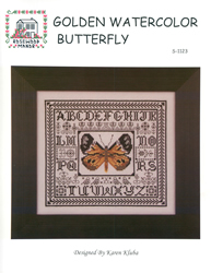 Cross Stitch Chart Golden Watercolor Butterfly - Rosewood Manor