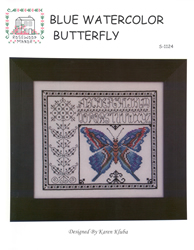 Cross Stitch Chart Blue Watercolor Butterfly - Rosewood Manor