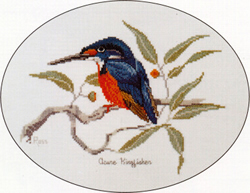 Cross Stitch Chart Azure Kingfisher - Ross Originals
