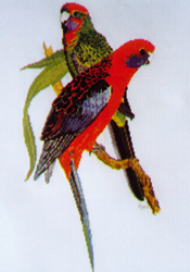 Cross Stitch Chart Crimson Rosellas - Ross Originals