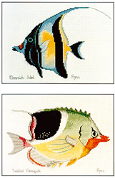 Cross Stitch Chart Moorish Idol & Saddled Coralfish - Ross Originals