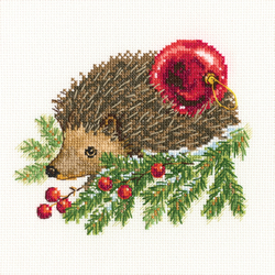 Borduurpakket Hedgehog Decorating Christmas Tree - RTO
