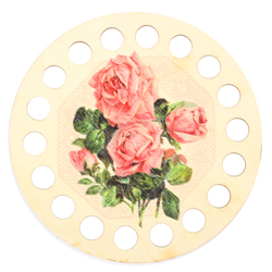 Plywood organizer - Round with print Rose - RTO