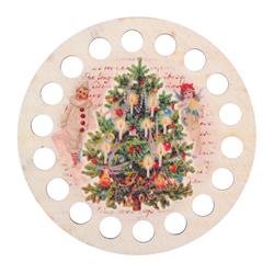 Plywood organizer - Round with print Christmas - RTO
