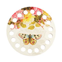 Plywood organizer - Round with print Butterfly and Roses - RTO