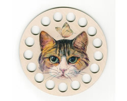 Plywood organizer - Round with print Cat - RTO