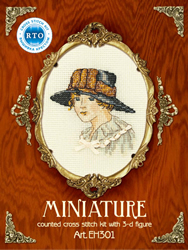 Cross Stitch Kit Lady in a Hat with Bow - RTO