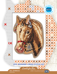 Cross stitch kit Perforated Wooden Form - Horse - RTO