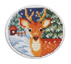 Cross stitch kit Perforated Wooden Form - Deer - RTO
