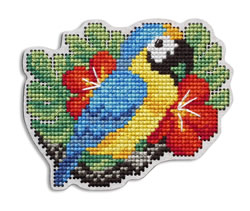 Cross stitch kit Perforated Wooden Form - Parrot - RTO