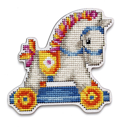 Cross stitch kit Perforated Wooden Form - Rocking Horse Boy - RTO