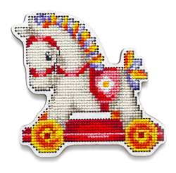 Cross stitch kit Perforated Wooden Form - Rocking Horse Girl - RTO