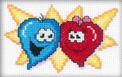 Cross Stitch Kit Lovely hearts - RTO