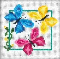 Cross Stitch Kit Three butterflies - RTO