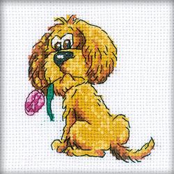 Cross Stitch Kit Doggy with flower - RTO