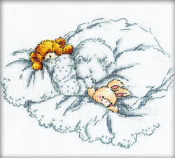 Borduurpakket Baby with Teddy and Rabbit - RTO
