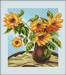 Cross Stitch Kit Yellow flowers in a vase - RTO