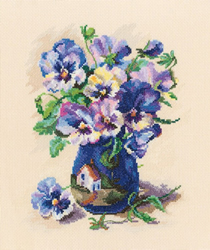 Cross stitch kit Pansies in Torquay Pottery - RTO